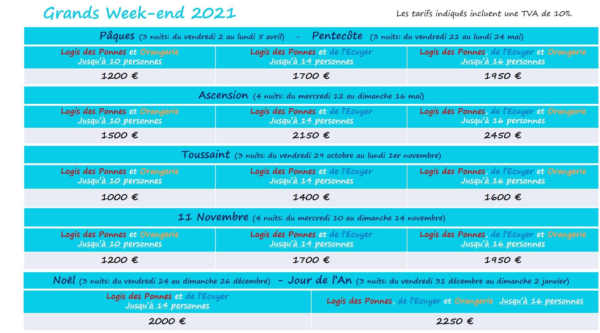 Tarifs grands WE 2021 La Girardière en Vendée